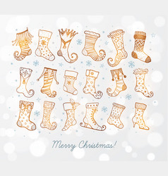 set doodle sketch christmas socks on white vector image