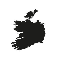 silhouette map of ireland in black on a white vector image