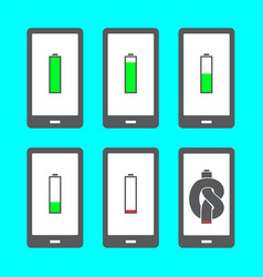 smartphone with battery icons vector image
