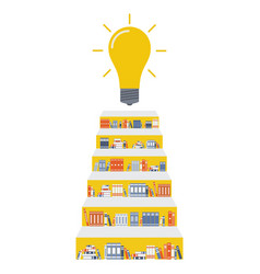 stairway consists of bookshelves and a light bulb vector image