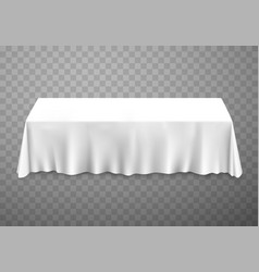 Table with tablecloth white vector