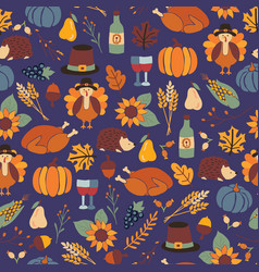 Thanksgiving dinner seamless pattern with vector