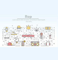 Thin line art rap music poster banner vector