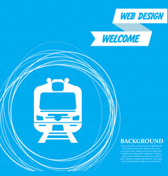 train icon on a blue background with abstract vector image