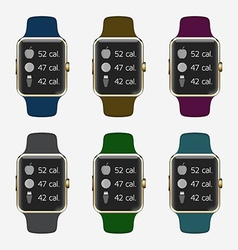 Trendy Colorful Icons Set of Smart Watch with vector