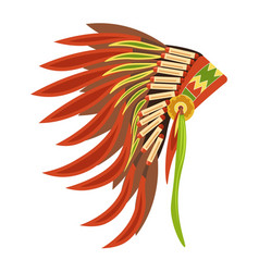 Tribal hat with long feathers as attribute of vector