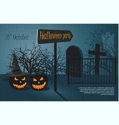 Two halloween pumpkin on cemetery background vector