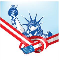 Usa flag with statue liberty vetcor vector