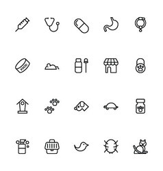 Veterinary Outline Icons 4 vector