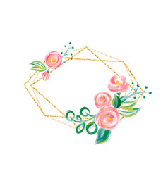 watercolor floral frame with golden bronze border vector image
