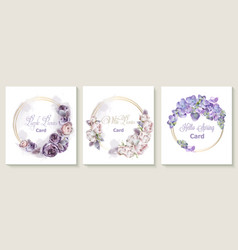 Wedding invitation card set with purple peony vector