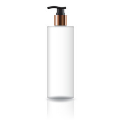 White cosmetic cylinder bottle with pump head vector