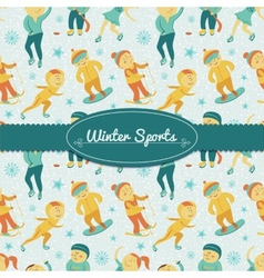 Winter Sports background with children vector image