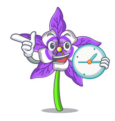 With clock columbine flower character cartoon vector