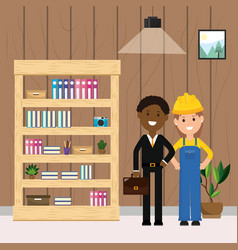 woman worker and businessman bookshelf plant and vector image