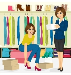 Young woman trying on different shoes vector