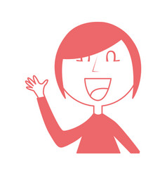 young woman waving avatar character vector image