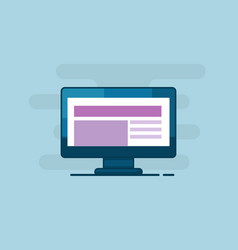 computer monitor with responsive web design vector image vector image