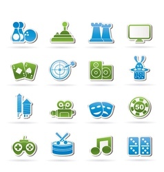 entertainment objects icons vector image vector image
