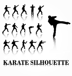 Karate silhouette move set vector image vector image