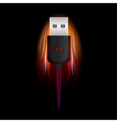 USB on Fire vector image