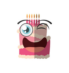 cartoon cake candle sweet wink vector image vector image