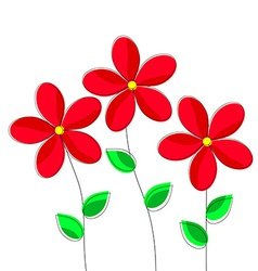 Cartoon Red Flowers on White Background vector image vector image