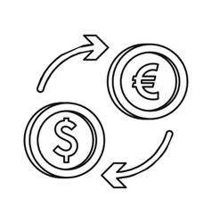 Euro dollar euro exchange icon outline style vector image