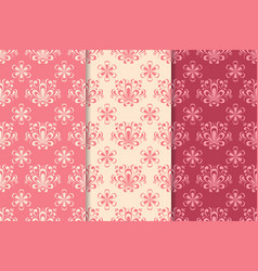 floral seamless pattern red set vector image vector image