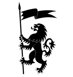 heraldic lion with flag vector image