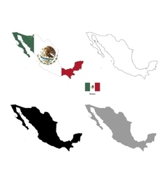 Mexico country black silhouette and with flag on vector image