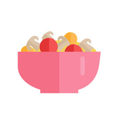 Salad with vegetables and mushrooms vector