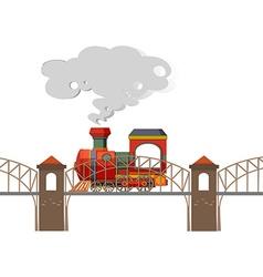 Train riding over the bridge vector