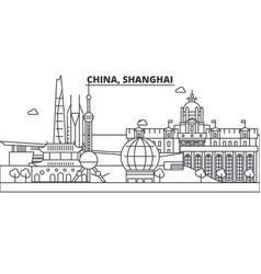 china shanghai architecture line skyline vector image