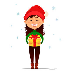 cute smiling girl in christmas hat holding gift vector image vector image