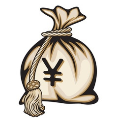 Money bag with yen sign vector image