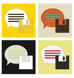 Set of flat text message icon speech bubble vector