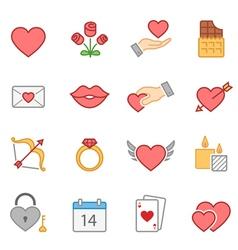 valentine color icon set vector image