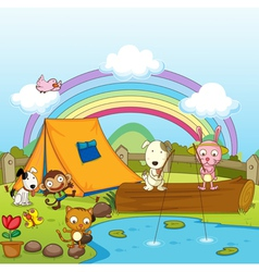 Animals fishing vector image vector image