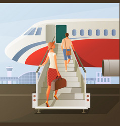 boarding in airplane composition vector image vector image