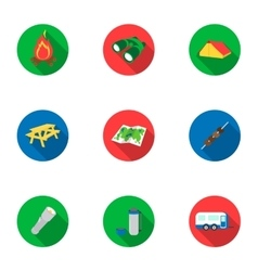 Camping set icons in flat style Big collection of vector image
