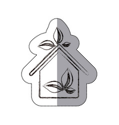 contour sticker eco houese with leaves icon vector image