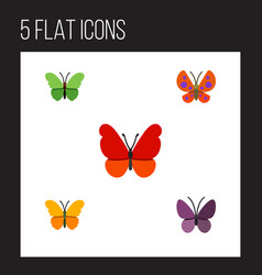 Flat butterfly set of violet wing monarch moth vector