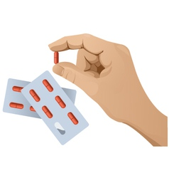 Hand with pill version 1 vector image vector image