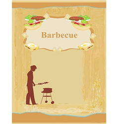 man cooking on his barbecue - Invitation vector image vector image