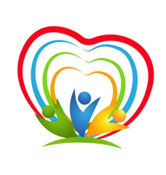 People heart connections logo vector image vector image
