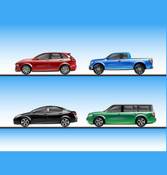set of various raffic vehicles vector image vector image