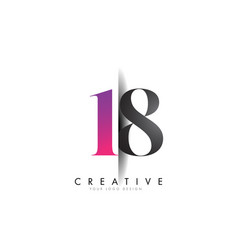 18 1 8 number logo with creative shadow cut design vector image