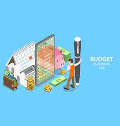 3d isometric flat concept budget vector