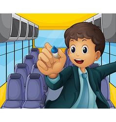 A boy holding a pen vector image